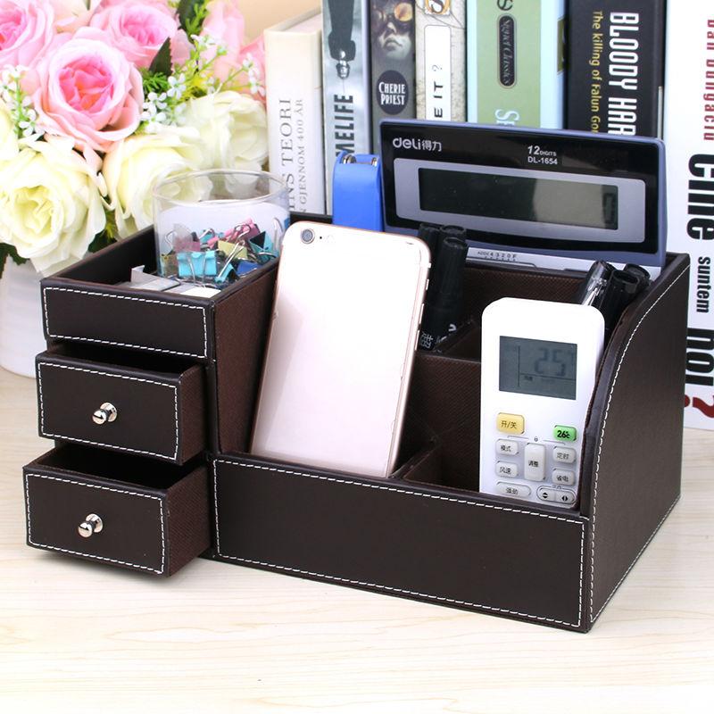 2 Drawer Wooden Leather Desk Organizer Pen Holder Mobile