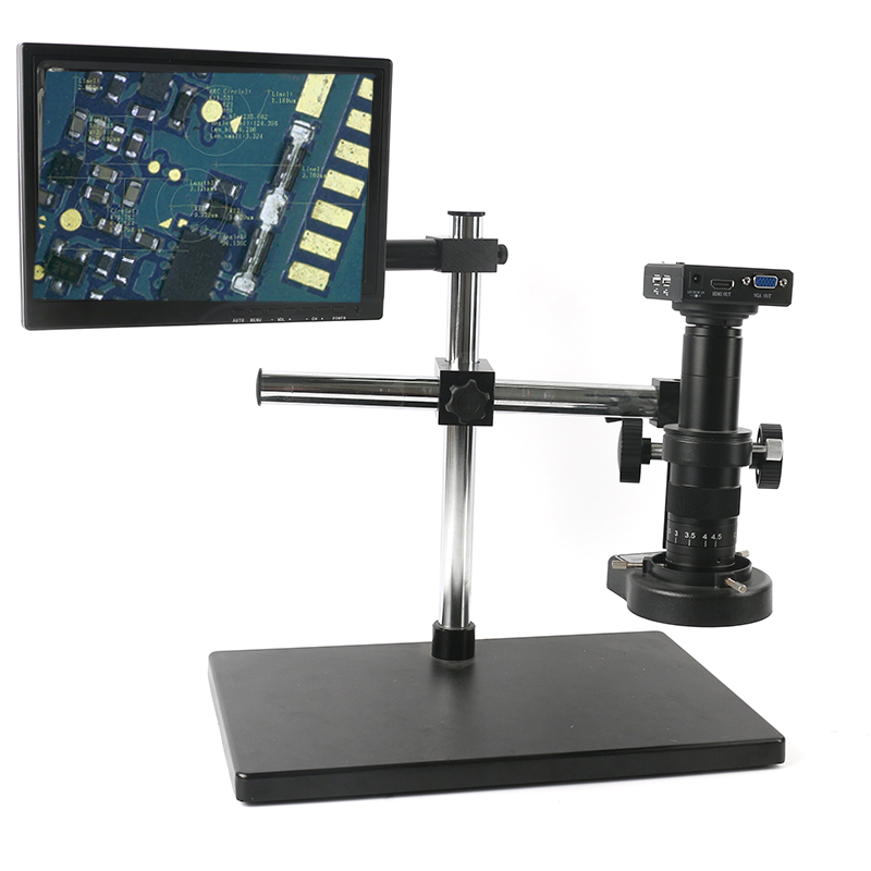 "1080P HDMI VGA Measurement Industriai Video Microscope Camera Set+Big Boom Stand Universal bracket+180X/300X C MOUNT Lens+8"" LCD c-mount lens microscope camera video microscope - title="
