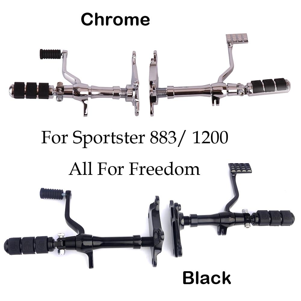 Apoio Para Os Pés da motocicleta Para Sportster Pé pegs resto XLH1200 Cromo Preto De Alumínio Frente Controles 883 Roadster 1991-2003