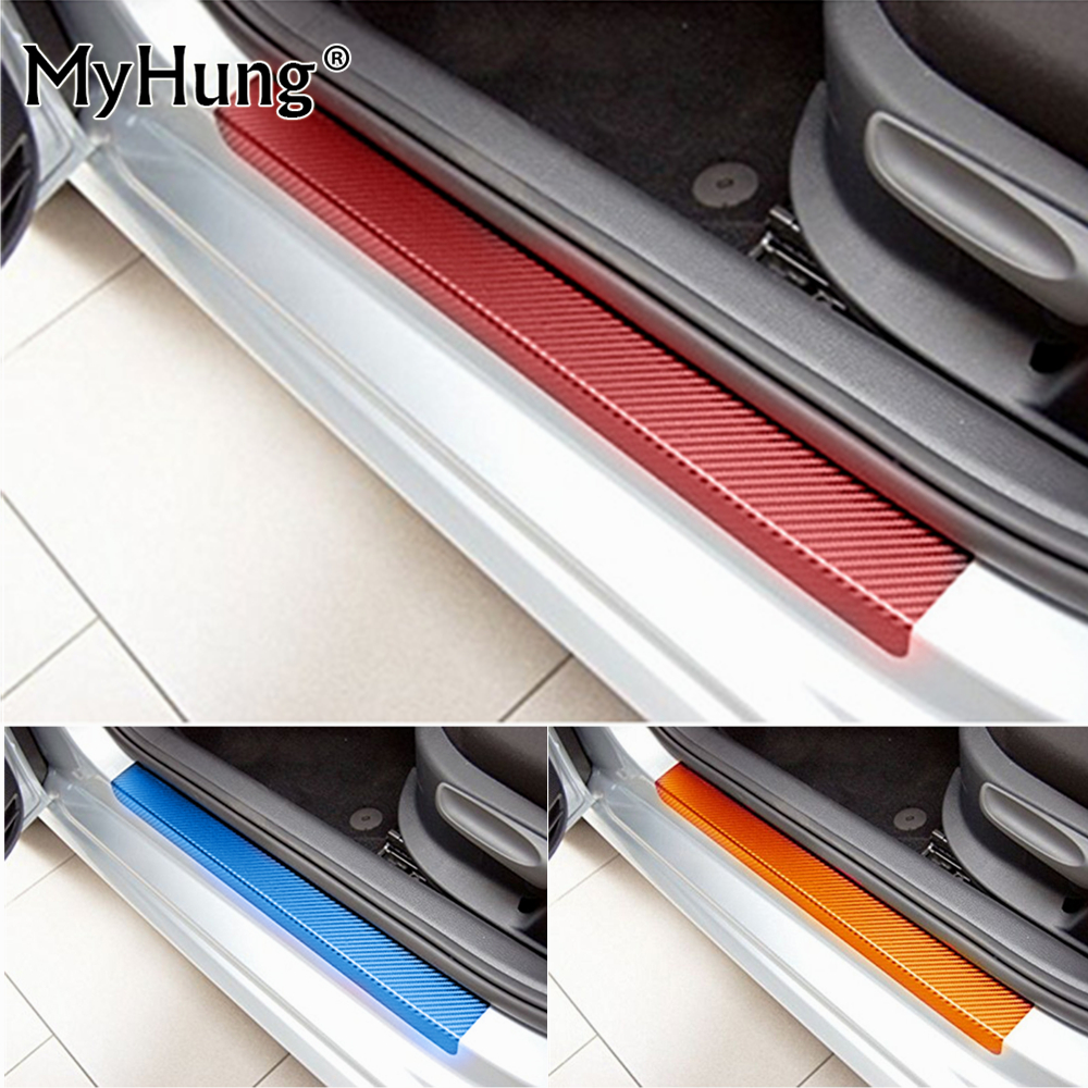 For Mitsubishi ASX Lancer RVR 2011 2012 2013 2014 2015 car door sill scuff carbon fiber vinyl sticker Stickers 4pcs car styling yuzhe leather car seat cover for mitsubishi lancer outlander pajero eclipse zinger verada asx i200 car accessories styling