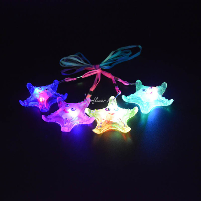 Captivating 2018 LED Light Up Star Fish Jelly Necklace Pendants Women Girls Flashing  Necklaces Jewelry Party Gift Pictures
