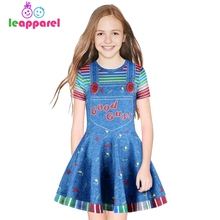 2019 Girls Clothes Fake 2PCS Letter Print Cosplay Dress Girl Uniform 3D Dresses Kids Princess Dress Children Halloween Vestidos girls letter print mixed media gingham dress