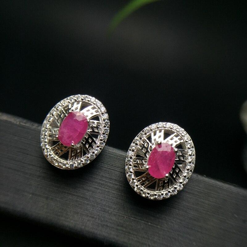 Uloveido Natural Certified Ruby Earrings for Women 925 Sterling Silver 4 6mm Birthstone Gemstone Wedding Jewelry