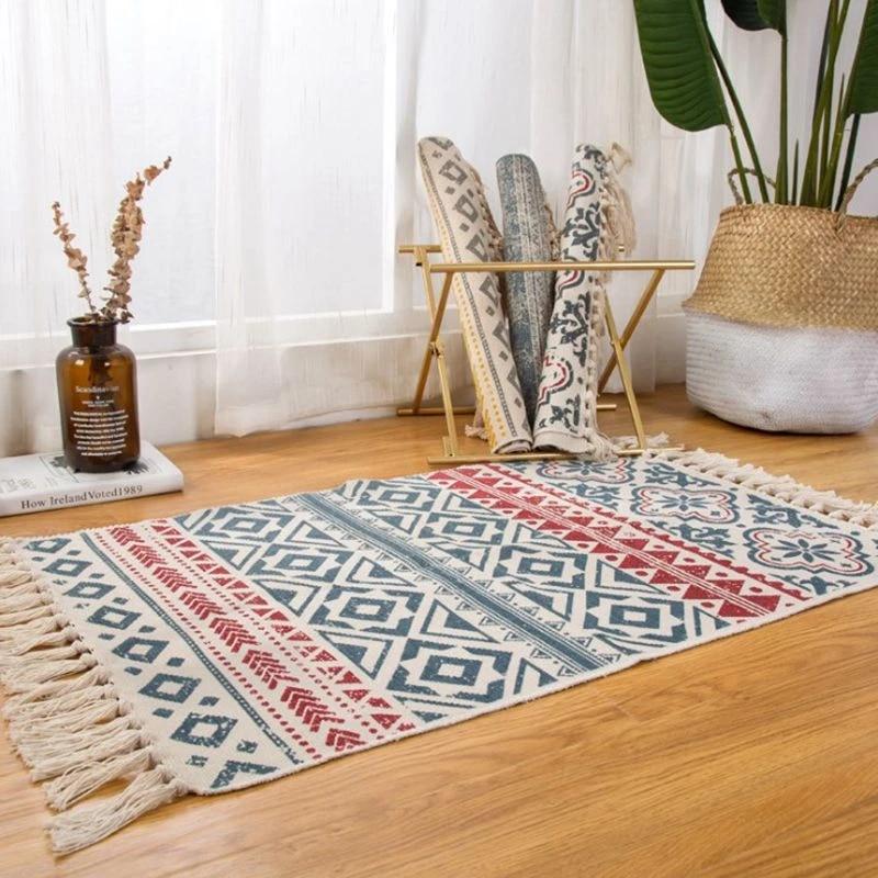 boho tapis pompom fait main decoration tapis de chambre ethnique kilim vloerkleed tapis de priere couverture