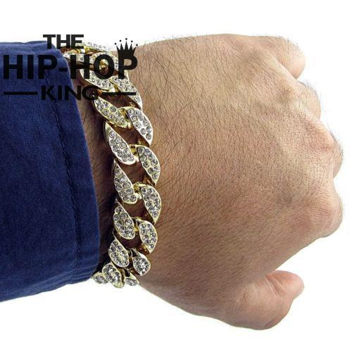 Prix pour Hommes de Luxe Strass Mode Bracelets & Bangles de Haute Qualité Or Couleur Iced Out Miami Cubain Bracelet Hip Hop