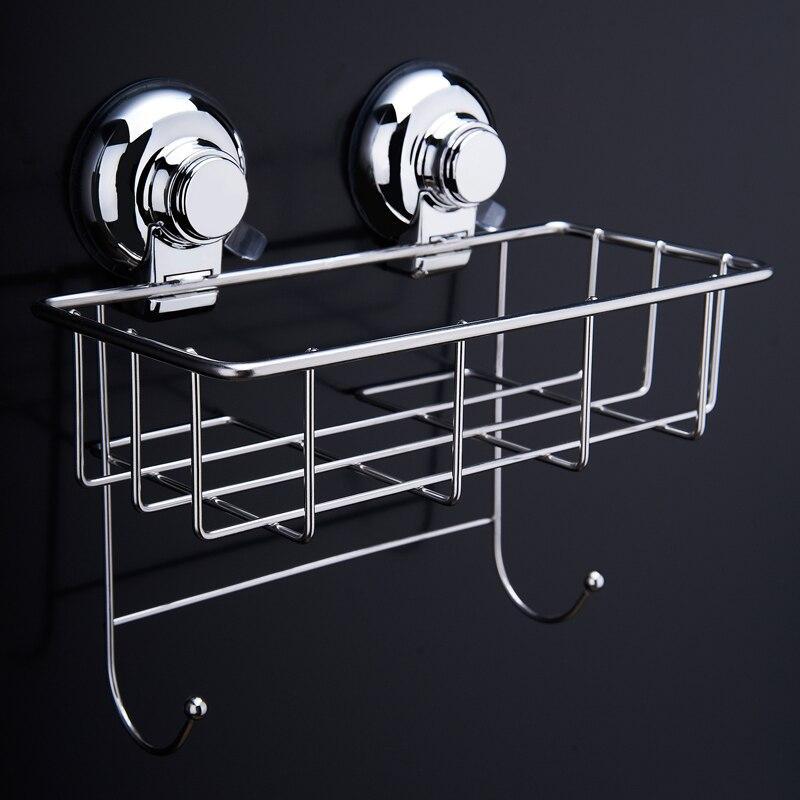 Stainless Steel Kitchen Bathroom Square Storage Basket Vacuum Suction Cup Hook Holder Organizer Storage Shelf with