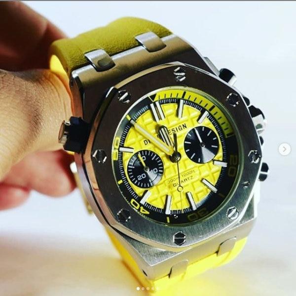 Didun Mens Watches Top Brand Luxury quartz Watch Business Military Waterproof Chronograph wristwatch rubber strap Masculino