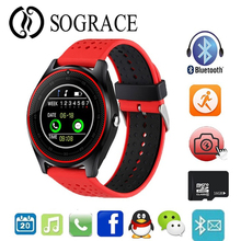 Купить с кэшбэком V9 Smart Watch with Camera Bluetooth Smartwatch SIM Card Wristwatch for Android Phone Wearable Devices PK V8 Y1 DZ09 GT08