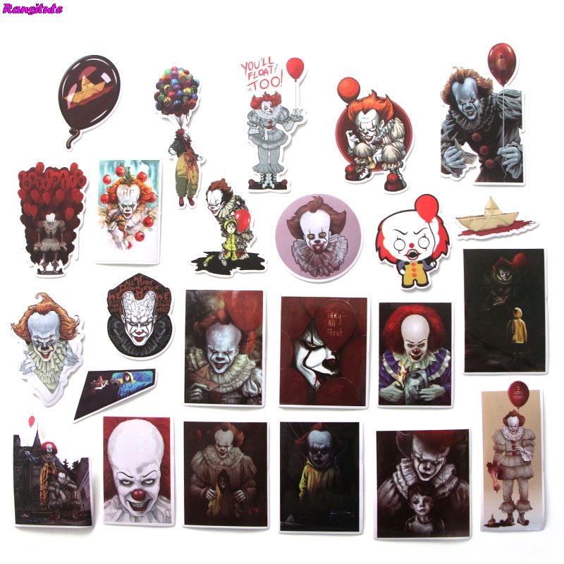 R113 24pcs/set Clown Role Playing Funny Stickers DIY Luggage Laptop Skateboard Motorcycle Mobile Phone Waterproof Stickers