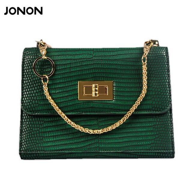 Jonon Small Women Leather Handbag Lizard Crocodile Shoulder Bag Woman Snake Bags Pu Handbags Chains
