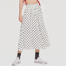 AcFirst Black Red White Summer Women Skirt High Waist A-Line Mid-Calf Long Sexy Casual Chiffon Dots Plus Size XXL