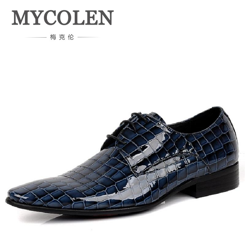 MYCOLEN Spring Autumn Patent Leather Shoes For Men Wedding Shoes Genuine Cow Leather Pointed Toe Stone Pattern Dress Shoes 2017 spring autumn fish pattern leather iron pointed toe shoes men slip on breathable lighted british style mens wedding shoes page 4