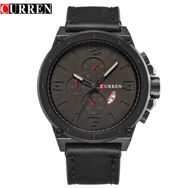 CURREN brand top new fashion casual quartz wrist watch men large dial waterproof leather relojes black strap for leather 8230