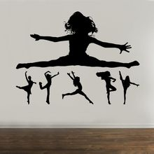 Gymnastics Wall Decal Dancing Girl Silhouette Vinyl Wall Sticker Girls Room Decor Ballet Dancer Wall Art Mural Home Decor AY1302 ballet dancer dancing silhouette vinyl switch sticker cartoon ballet wall decor
