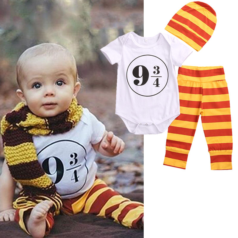 3pcs Newborn Baby Girl Boy Clothes Harry Potter Costume Outfits 0-18M Romper+Leggings+Hat Toddler Kids Clothing Set