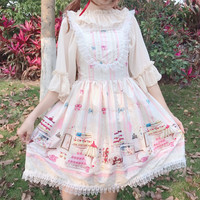 Lolita Women's JSK Lolita Dress Kawaii Gothic Girls Lolita Dress Sweet Sleeveless Dress Cute Lolita Cosplay Costume For Adult