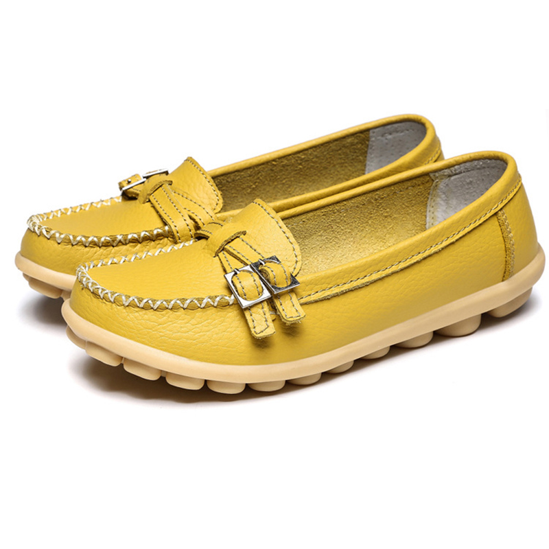 LAKESHI Casual Leather Shoes Loafers Women Flats Moccasins