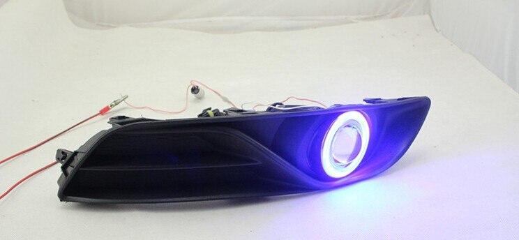 DRL COB angel eye (6 couleurs) + lentille de projecteur + H3 lampe anti-brouillard halogène + couvercle de lampe anti-brouillard pour Nissan Sylphy sentra 2012-14 - 4