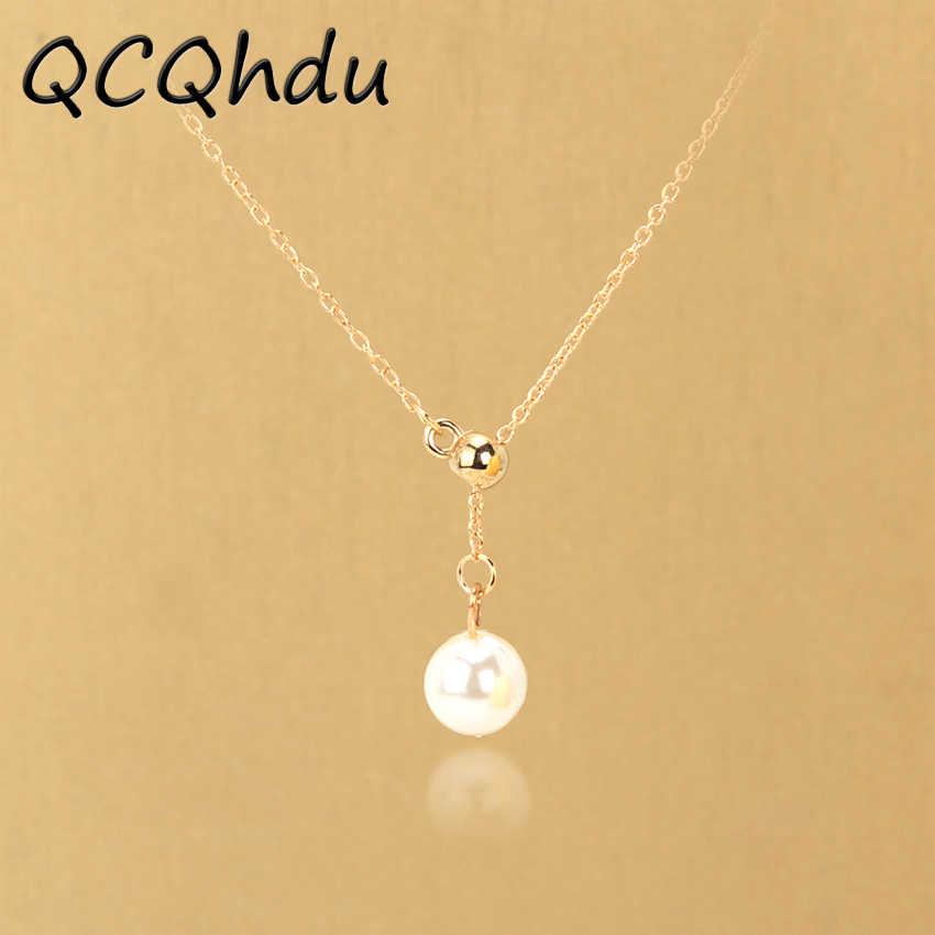 Prosty złoty kolor kolor srebrny łańcuch regulowany symulowane Pearl naszyjnik nowy styl biżuteria