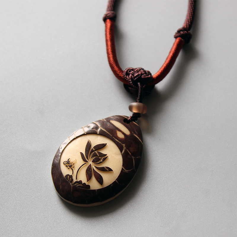 Wholesale Chinese Traditional Necklace With Handcarved Tagua Nut Lotus Flower Pendant Zen Buddhism Jewelry Handmade Elegant