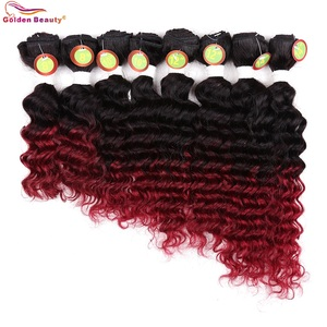 Image 2 - 8 14inch Deep Wave Weave Ombre Hair Bundles Heat Resistant Burgundy Synthetic Short Sew In Hair Extensions For Women 8pcs/Pack