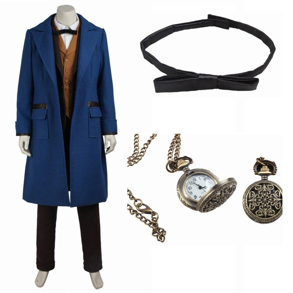 Фантастические звери и где найти их костюм Ньют scamande Косплэй костюм для взрослых Для мужчин Хэллоуин костюм Индивидуальный заказ