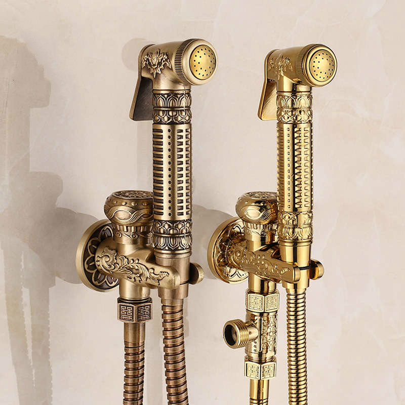 Antique Bronze Bidet Faucets European Brass Toilet Hand Sprayer Set Wall Mount Hand Toilet Cleaning Faucet Bathroom Accessories halloween bloody hand pattern 3 pcs bathroom toilet mat