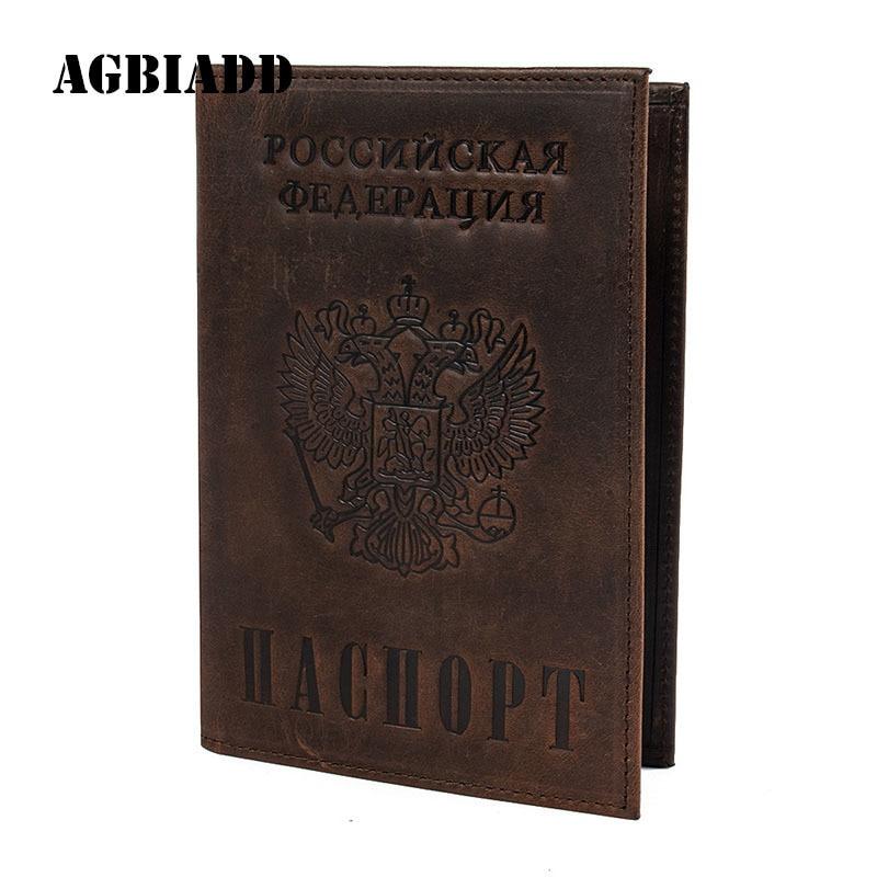 AGBIADD Vintage Men Women Genuine Leather Passport Cover Russian Emblem Logo Credit Card Holder A596 Travel Passport Holder