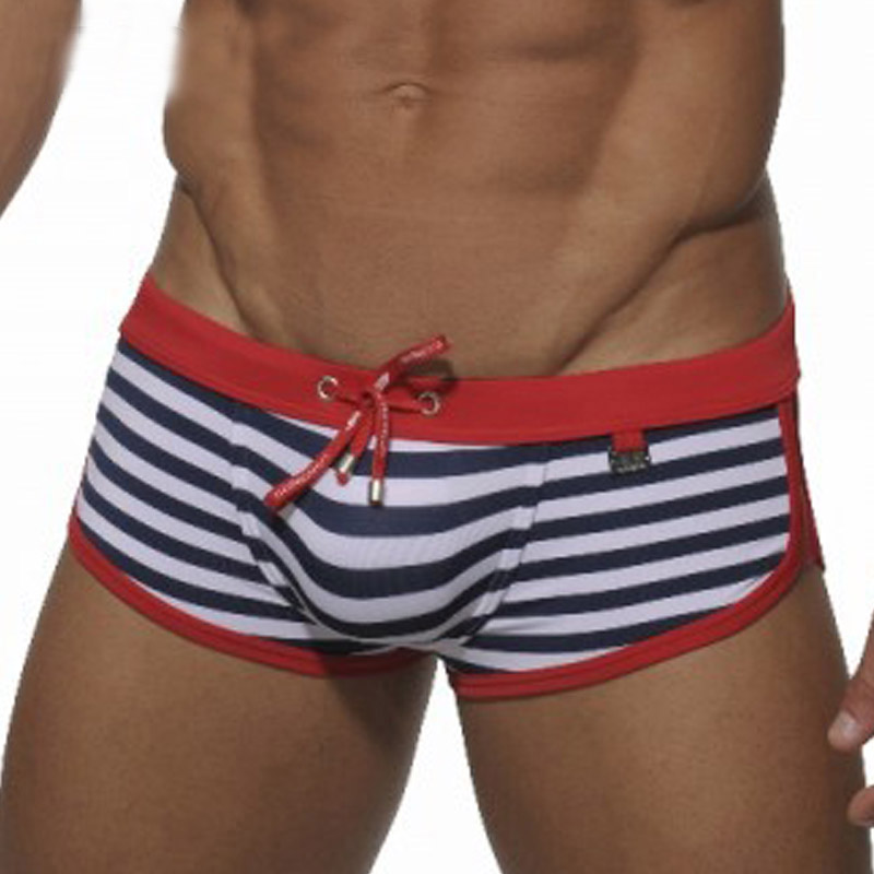 Yutao Mens Low Rise Swimwear Pocket Trunk Boxer Brief Swimsuit Orange
