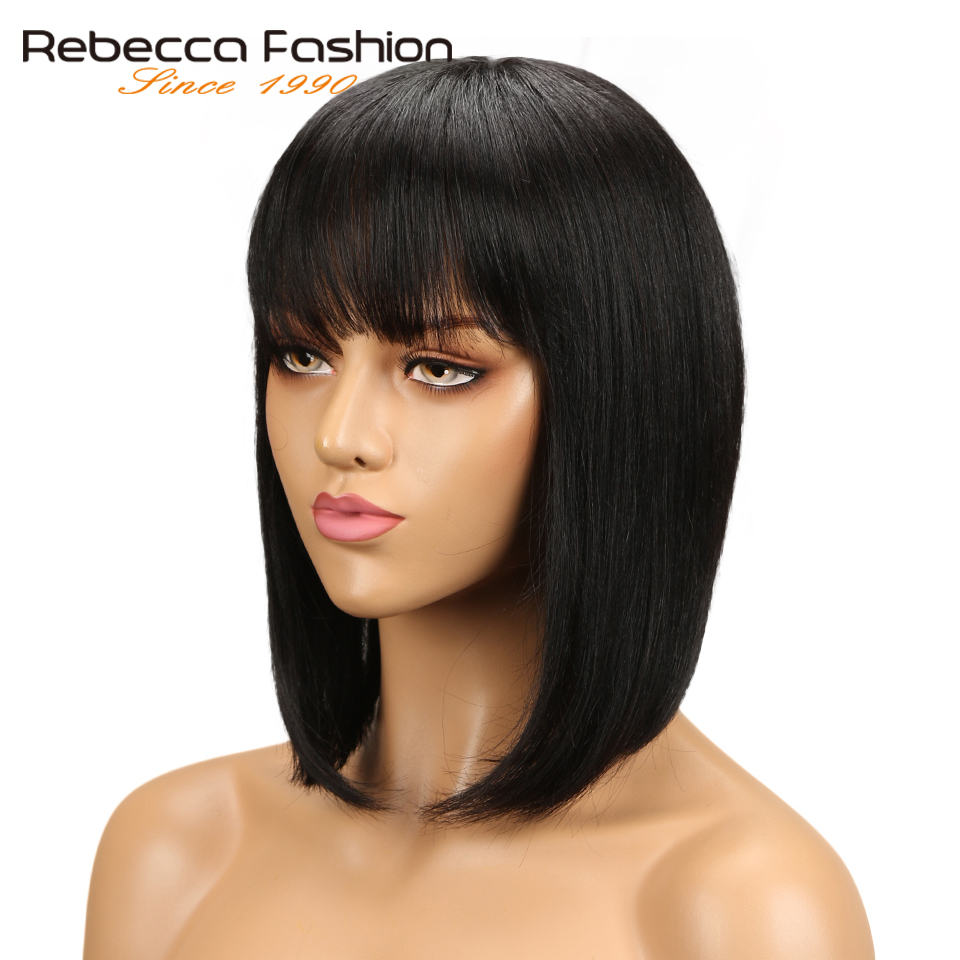 Rebecca Short Cut Bob Wig Peruvian Remy Human Hair Wigs For Black Women Brown Red Mix Color Machine Made Wig #1B #Red Free Ship