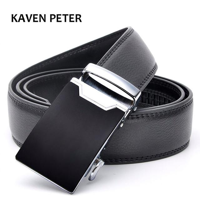 Cinturón de cuero genuino, hebilla automática piel de vaca