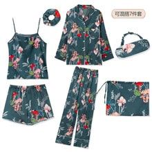 Summer Autumn 7 Pieces Set Silk Elegant Women Pajamas Print Silk Shorts Long Sleeve Top Elastic