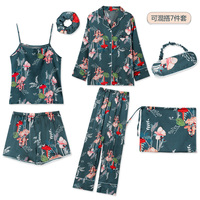 Summer Autumn 7 Pieces Set Silk Elegant Women Pajamas Print Silk Shorts Long Sleeve Top Elastic Waist Pants Silk Lounge Pijamas