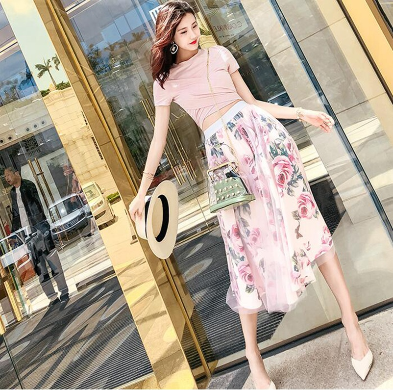 SexeMara Real shot cross wrap chest slim short + printed mesh two-piece suit large swing skirt suit Free shipping 3