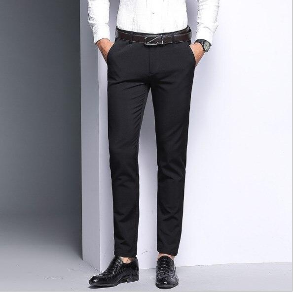New four seasons casual men's trousers Korean Slim stretch waist men's solid color trousers BG