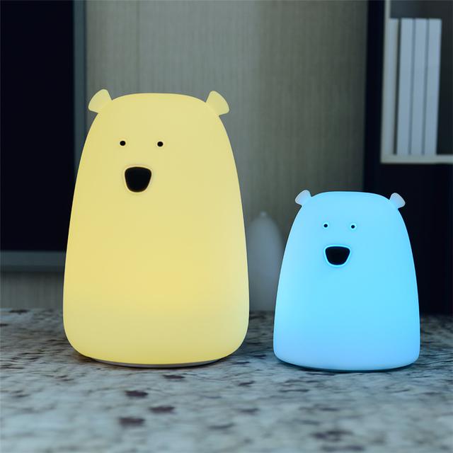 Cute Silicone Bear Night Light Bedside Lamp