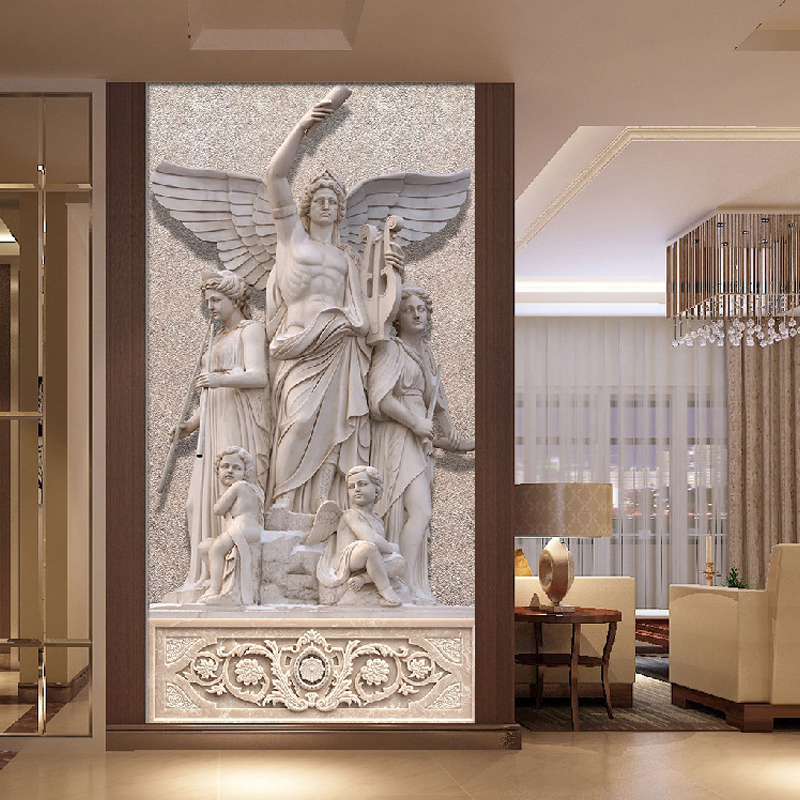 Custom Photo Murals Wallpaper 3D Stereo Relief European Angel Art Design Living Room Entrance Background 3D Wall Mural Wallpaper