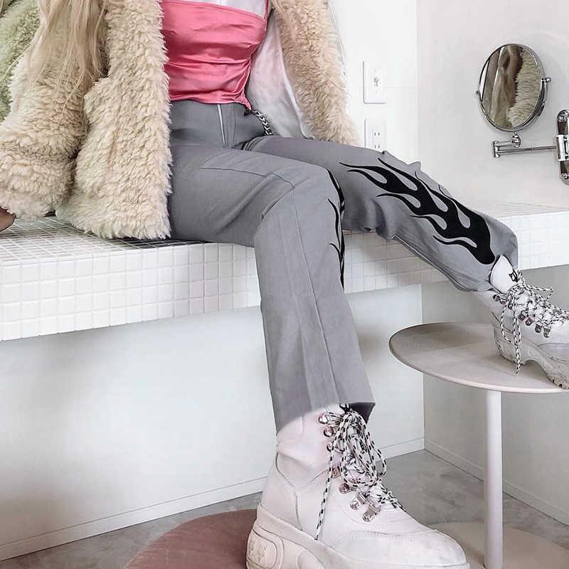 Rapwriter/женские брюки с высокой талией с огненным принтом, лето 2019, повседневные спортивные штаны Харадзюку, джоггеры, прямые мешковатые штаны, уличная одежда