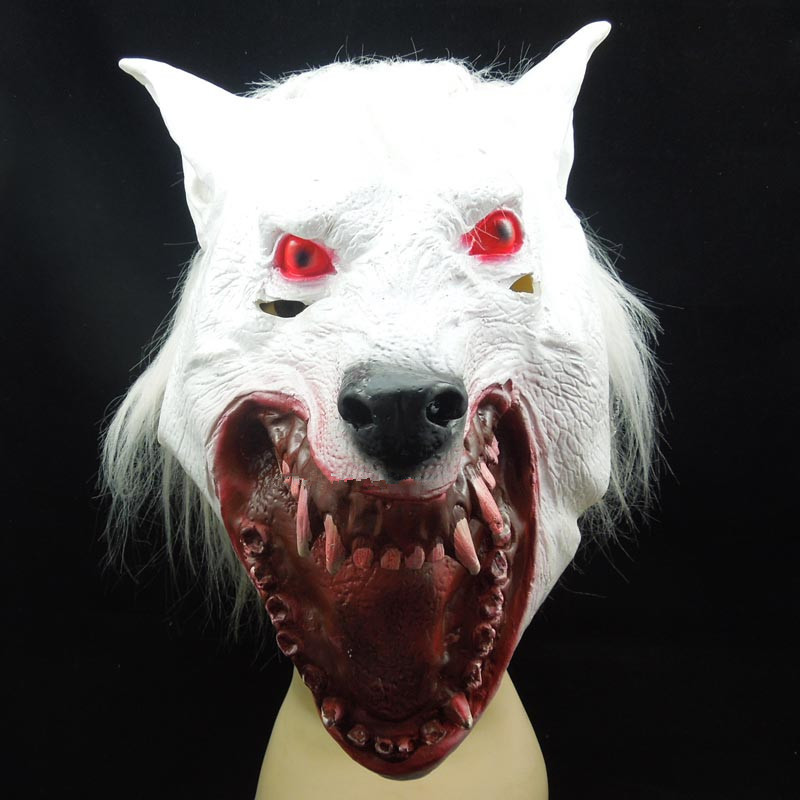 horror white wolf head mask scary halloween party mask red eye maw wolf mask halloween costume - Wolf Halloween
