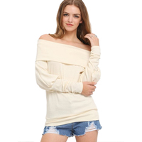 HU GH Women Top Long Sleeve Sexy Slash Neck Tshirt Autumn Girls Casual Workout Loose Solid