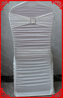 Ivory Ruffled Lycra Chair Covers With Lycra Band Sash And Square Diamond Buckle Pin For Wedding