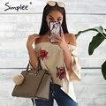 Simplee floral bordado blusa sem encosto mulheres sexy off ombro legal camisa blusa outono flare manga casuais blusas soltas top
