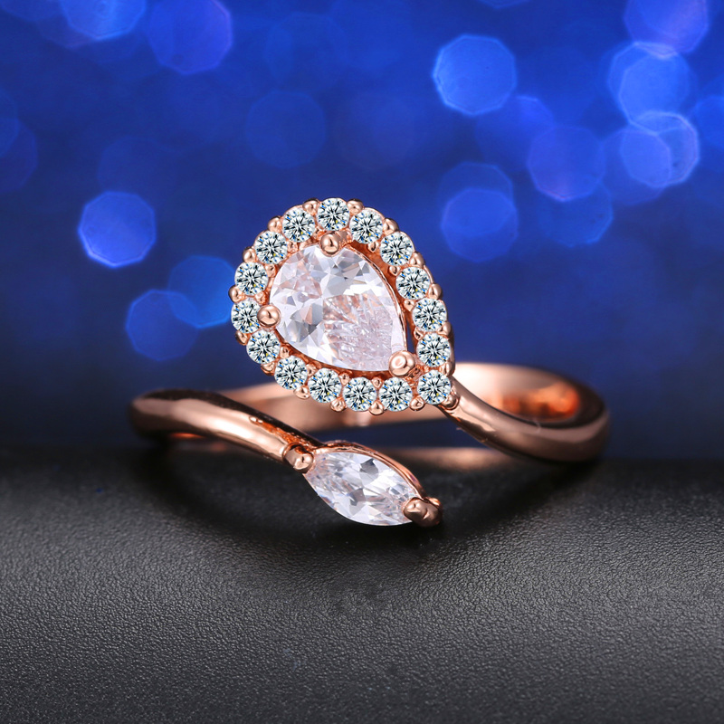 CWWZircons Adjustable Size High Quality Rose Gold Color Pears