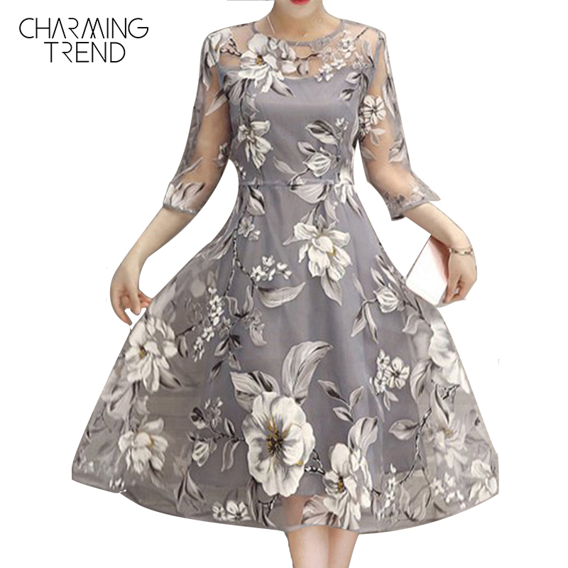 Charmingtrend Women Dress Voile Summer 2017 Fashion Crew See Through Neck Floral Elegant Skater Dress vestido