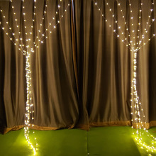 цена 3x1/3x2/3x3m Copper Wire LED Curtain Icicle String Light 24V Christmas Fairy Lights For Wedding/Party/Curtain/Garden Decoration в интернет-магазинах