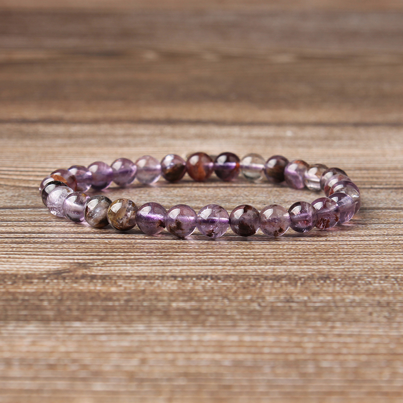 Lingxiang 6 8 10 12mm Crystal clear purple ghost bracelet is suitable for men and women to wear elastic string beads jewelry in Strand Bracelets from Jewelry Accessories