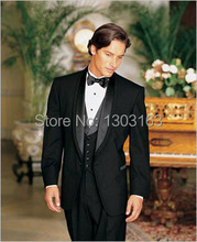 Custom Made Black Satin Lapel Groom Tuxedos Groomsmen Best Man Suit Men Wedding Suits Bridegroom Suit