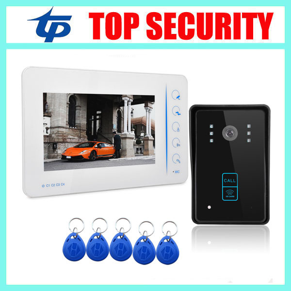 Door security 7 inch video door intercom video door phone for village, home, office with RFID card reader access control system