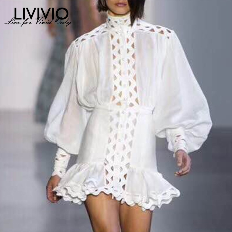 [LIVIVIO] Long Lantern Sleeve Stand Collar Elastic Waisted Bodycon Sexy Ruffle Hem Mini Dress Women 2019 Autumn Fashion Clothing
