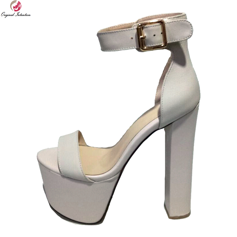Original Intention Stylish Women Sandals Platform Open Toe Square High Heels Sandals Black Nude Shoes Woman Plus US Size 4-15 original intention fashion women sandals open toe square heels sandals black red purple rose pink shoes woman plus us size 4 15